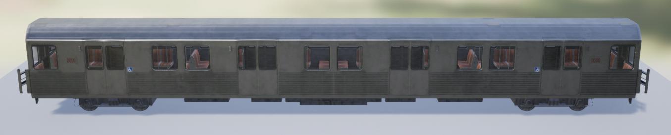 A train car with a fully dynamic shadow.